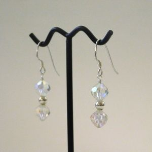 EUC Sterling Silver Antique Crystal Earrings